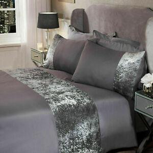 New Sienna Crushed Velvet Panel Duvet Cover Pillow Case Bedding Set