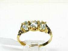 Victorian 14k Gold Sterling Natural 3 Stone Blue Topaz Engraved Ring I063BT