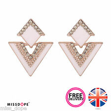 NEW WHITE TRIANGLE ROSE GOLD CRYSTAL EARRINGS STUD PLATED JEWELRY WOMENS LADIES