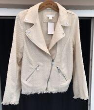 BNWT H&M Boucle Jacket Size 12 Cream Ivory Tweed Coat Biker Blogger Raw Hem New
