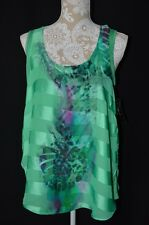 Style&Co. Womens Large Green Sleeveless Tank To NEW Semi Sheer Lined Loose Fit