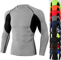 Men's Athletic Compression Sport Running Long Sleeve Workout Training Wear Shirt