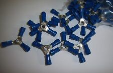 (20) 3 Way Wire Butt Connectors Blue Vinyl 16-14 Gauge AWG Ga Crimp On Terminals
