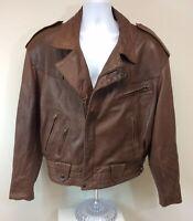 Men's Vintage Michael Hoban For North Beach Brown Leather Jacket Coat Size 42