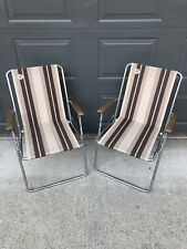 Vintage RARE Zip Dee Airstream Brown Rv Camp Folding Chairs Lot Of 2 Ships Free