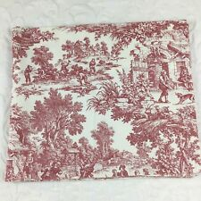 "Red Toile Valance French Country Pastoral 70"" x 9"" (4 Available) Made in USA EUC"