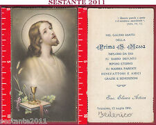 3073 SANTINO HOLY CARD GESù CRISTO EUCARESTIA EB BERTARELLI 6029 PRIMA MESSA