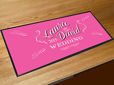 Personalised Wedding chalkboard style bar runner home bar counter mat PINK