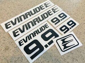 Evinrude Vintage 9.9 HP Outboard Motor Decals Black Vinyl + FREE Fish Decal!