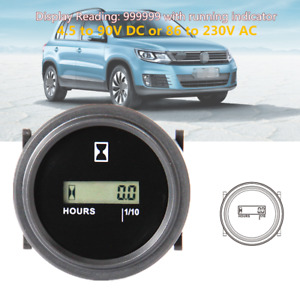"12/24/36V LCD Digital Hour Meter Tool Car Truck Marine Boat Engine 2""Round Gauge"