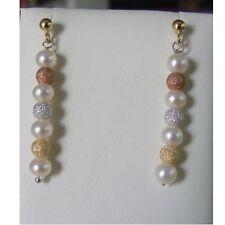 ORECCHINI pendenti PERLE misura 5 mm Chiusura oro bianco IKI Pearls