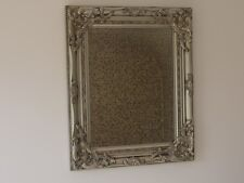 French Baroque Rectangular Wall Mounted Mirror Silver Ornate Shabby Chic 53cm