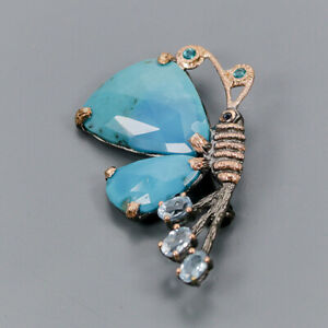 Turquoise Brooch Silver 925 Sterling Handmade /NB08535