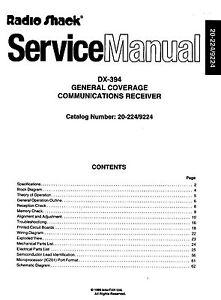 Radio Shack DX-394 Service and Owners Manual * CDROM * PDF * KE3GK