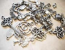 Assorted Charms Pendants Findings-Antiqued Silver-Large Lot-100pcs
