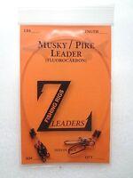 (10-Pack) MUSKY / PIKE FLUOROCARBON LEADERS (BEARING SWIVEL) MUSKIE LEADER LURE