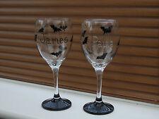 Hand Painted Goth Bats Personlised Wine Pint Glass Birthday,Thankyou,Hen Wedding