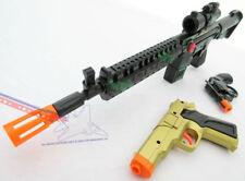 3x Toy Guns Friction M-16 Toy Rifle Gold 9MM Pistol & Revolver Cap Gun Set