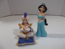Walt Disney Aladdin Prince Ali & Jasmine Figurines Ceramic-Glazed Made in Japan