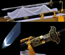 "Pattern Steel Alloy Fitting Chinese Sword ""Double Dargon Jian""(劍) Sharp Blade"