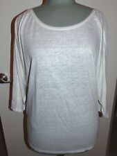 WHITE HOUSE BLACK MARKET Cream Sheer Detail 3/4 Sleeve Top  Sz MD  NWT