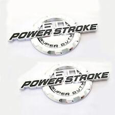 2x OEM Chrome 6.0L POWER STROKE SUPER DUTY Side Fender Emblems W Ford F250 F350