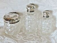 Scent Bottle Antique 3 pcs Art Nouveau French Silver & Baccarat Crystal