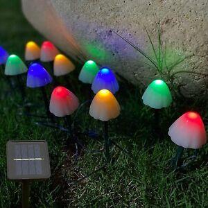 Solar Mushroom Fairy String Lights Outdoor Garden Ornament Statues Yard  Decor