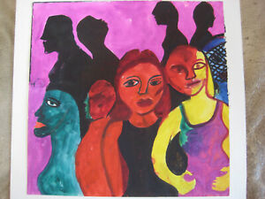 NINA TALBOT COLLAGE CUT OUTS PAINTING OUTSIDER FIGURAL FOLK ART BRUT NYC LISTED