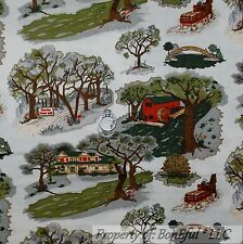 BonEful Fabric FQ Cotton Quilt Scenic Country Road Tree Amish Cabin Horse Wagon