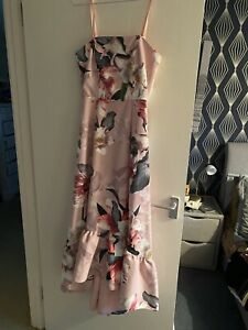 Brand New With Tags Very Floral Hi Low Dress Detachable Straps Size 10 Pink