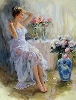 CHENPAT381 fancy portrait girl &flowers art hand-painted oil painting canvas