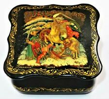 Vintage Russian Lacquer Box Palekh School Signed Sokolov 1984 DUEL