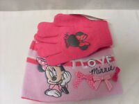 MINNIE MOUSE HAT AND GLOVES   PINK   NEW ,