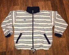 Vtg 80s 90s SERGIO TACCHINI Navy White Mens SMALL Windbreaker Track Jacket Coat