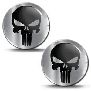 2 x 3D Punisher Schädel Silikon Aufkleber Totenkopf Logo Helm Auto Moto Emblem