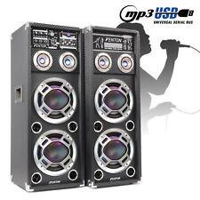 "Bluetooth Karaoke Speakers Dual 10"" USB Home Party Disco LED Lights 400W Powered"