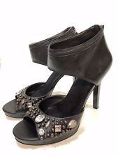 Nine West Women's Black Leather Heels Zip Shoes Size 8.5 M