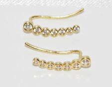 9ct Gold Diamond Climber Earrings - Solid 9K Gold