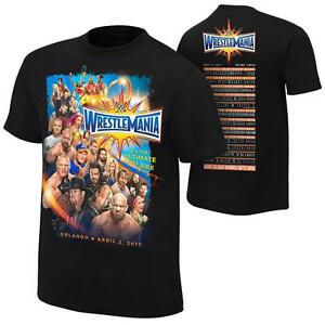 New Licensed WWE WrestleMania 33 Wrestler Line-up T-Shirt Size 2XL ________  S25
