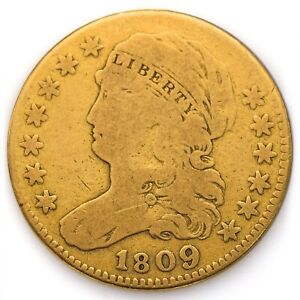 1809/8 Capped Bust $5.00 (Five Dollar) About Good / Good