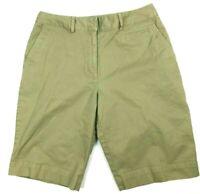 Lands End women's khaki green bermuda shorts size 8 Petite stretch