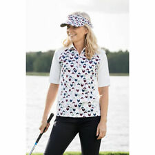 NWT Daily Sports Cristal Women's Large Ivory print Golf Polo shirt NEW 873/132