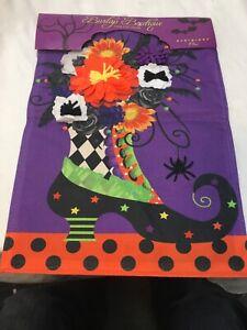 Evergreen Decorative 3D Burlap Garden Flag Witch Boot Halloween Style