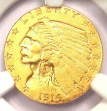 1914-D Indian Gold Quarter Eagle $2.50 Coin. Certified NGC AU Detail - Rare Coin