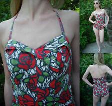 Vtg Genuine 50s Multi Red White Green Rose Halterneck Swimsuit 8/10/12 Superb!