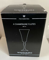Whitakers Finest Crystal Champagne Flutes - 4 In A Set - Brand New