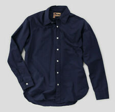 Nigel Cabourn Basic Oxford Long Sleeve Shirt in Navy Blue Various Sizes