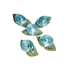 24 Light Blue satin barrel tulip rose applique flower
