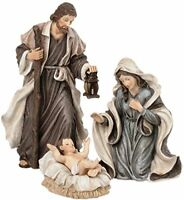 "Holy Family 3 Piece 6"" Resin Stoneware Nativity Set"